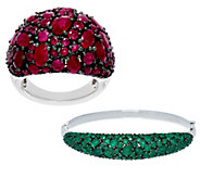 Ruby, Emerald or Sapphire Bold Sterling Silver Ring or Cuff - J57166
