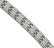 Steel by Design Mens 8-1/2 Brushed CableInlay Bracelet - J304567