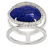 Sterling Silver Gemstone Double Band Ring - J320667