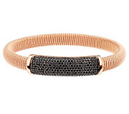 As Is Bronzo Italia Average 3.00ct tw Black Spinel Wrapped Design Bangle - J320867