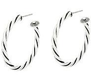 American West Sterling Silver Rope Design 1-1/2 Hoop Earrings - J330567