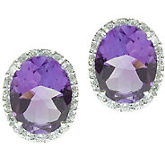 Judith Ripka Sterling Gemstone & Diamonique Halo Stud Earring - J339367
