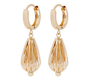 EternaGold Fluted Teardrop Hinged Hoop Earrings, 14K Gold - J344667