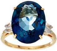 London Blue Topaz & Baguette Sapphire Ring, 14K, 10.55 ct - J346167