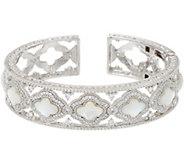 Judith Ripka Sterling Silver Diamonique & Mother of Pearl Cuff Bracelet - J348367