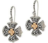 Barbara Bixby Sterling/18K Maltese Cross Drop Earrings - J350467