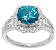 Cushion Cut Blue Zircon and Diamond Ring, 3.00 cttw, 14K - J353367