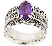 Or Paz Sterling 1.55ct Amethyst Marquise Spinner Ring - J354567