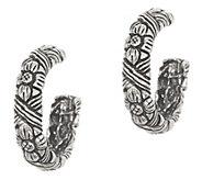 Stephen Dweck Sterling Silver Engraved Flower Hoop Earrings - J356567
