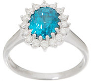 Blue Zircon and Diamond Scalloped Design Ring, 3.00 cttw, 14K - J356667