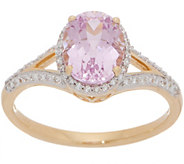 Oval Kunzite and Diamond Ring, 1.90 cttw, 14K Gold - J357467