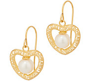 Italian Gold Cultured Pearl Heart Dangle Earrings, 14K Gold - J357567