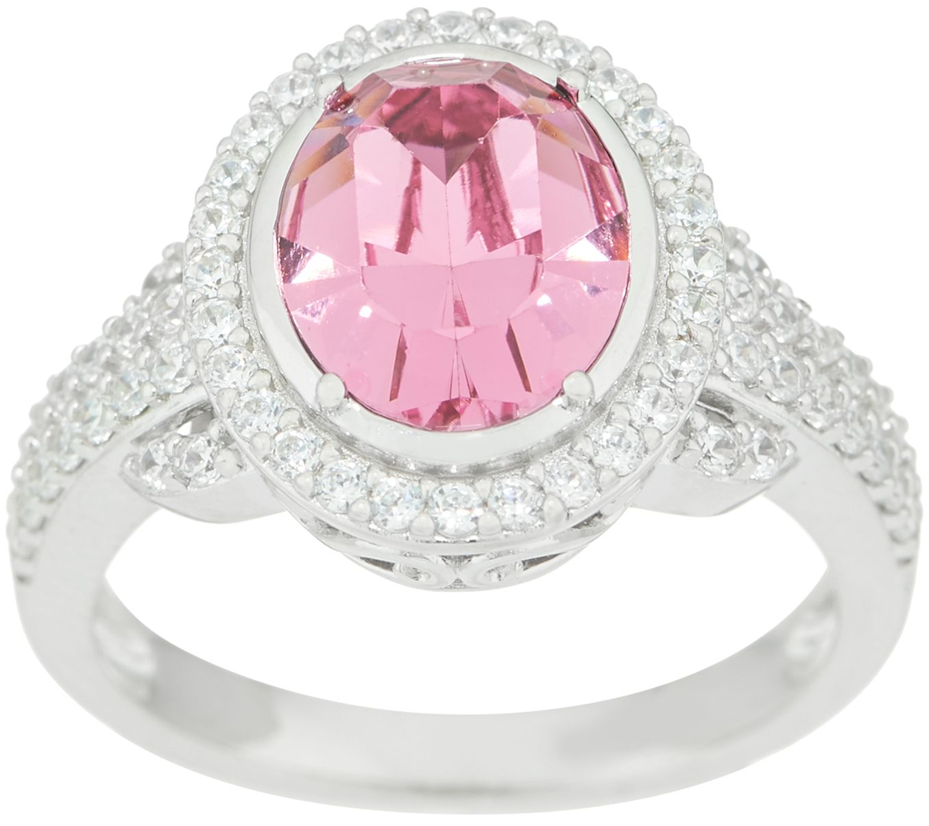 Diamonique Pink Simulated Diamond Oval Ring, Sterling Silver — QVC.com