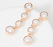 Diamonique Round Bezel Set Drop Earrings Sterling Silver - J361267