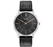 Bulova Mens Stainless Steel Classic Black Leather Watch - J384467