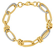 14K Two-Tone Oval and Round Link Bracelet, 10.0g - J384867