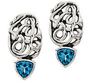Hagit Sterling Trillion-Cut 2.60 cttw Blue Topaz Earrings - J386667