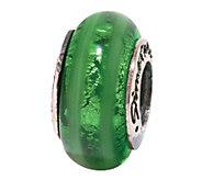 Prerogatives Sterling Vertical Stripe Green Glass Bead - J108868