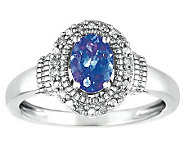 Sterling Oval Tanzanite and Diamond Accent Ring - J308568