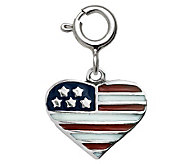 Sterling Epoxy Enamel Flag Heart Charm - J311168