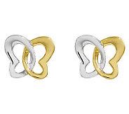 Two-Tone Open Butterfly Stud Earrings, 14K Gold - J313768