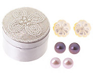 Set of 3 Button and Flower Earrings with Gift Box - J313868