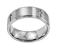 Stainless Steel 8mm Brushed Cross Ring - J314268