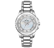Bulova Ladies Mother-of-Pearl Diamond Dial Bracelet Watch - J316368