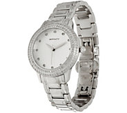 Pave Round Diamond Watch, Stainless Steel 1.00 cttw, by Affinity - J347468