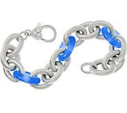 Judith Ripka 6-3/4 Verona Gemstone Link Sterling Bracelet 35.5g - J347868