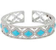Judith Ripka Sterling Silver Diamonique & Turquoise Cuff Bracelet - J348368