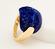 Opaque Gemstone Cabochon Ring, 14K Gold- Plated Sterling Silver - J354168