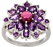 Gemstone Flower Sterling Silver Ring - J355368