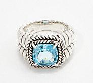 JAI Sterling Silver & Blue Topaz Basketweave Ring, 3.95 cttw - J360068