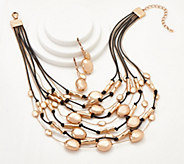 Linea by Louis Dell Olio Bead and Black Cord Necklace Set - J360768