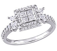 Diamond Halo Engagement Ring, 14K, 1 cttw, by Affinity - J376568