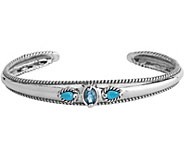Carolyn Pollack  Sleeping Beauty Turquoise & Blue Topaz Cuff - J377368