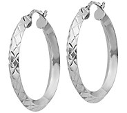 Italian Silver Round Diamond-Cut Hoop Earrings,Sterling - J379668
