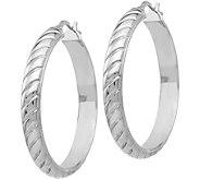 Italian Silver Textured Hoop 1-3/8 Earrings, Sterling - J380068