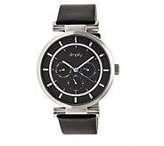 Simplify Black Leather Strap Watch - J380368