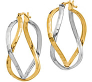 Italian Gold Two-Tone Cross Over Hoop Earrings,14K - J381768