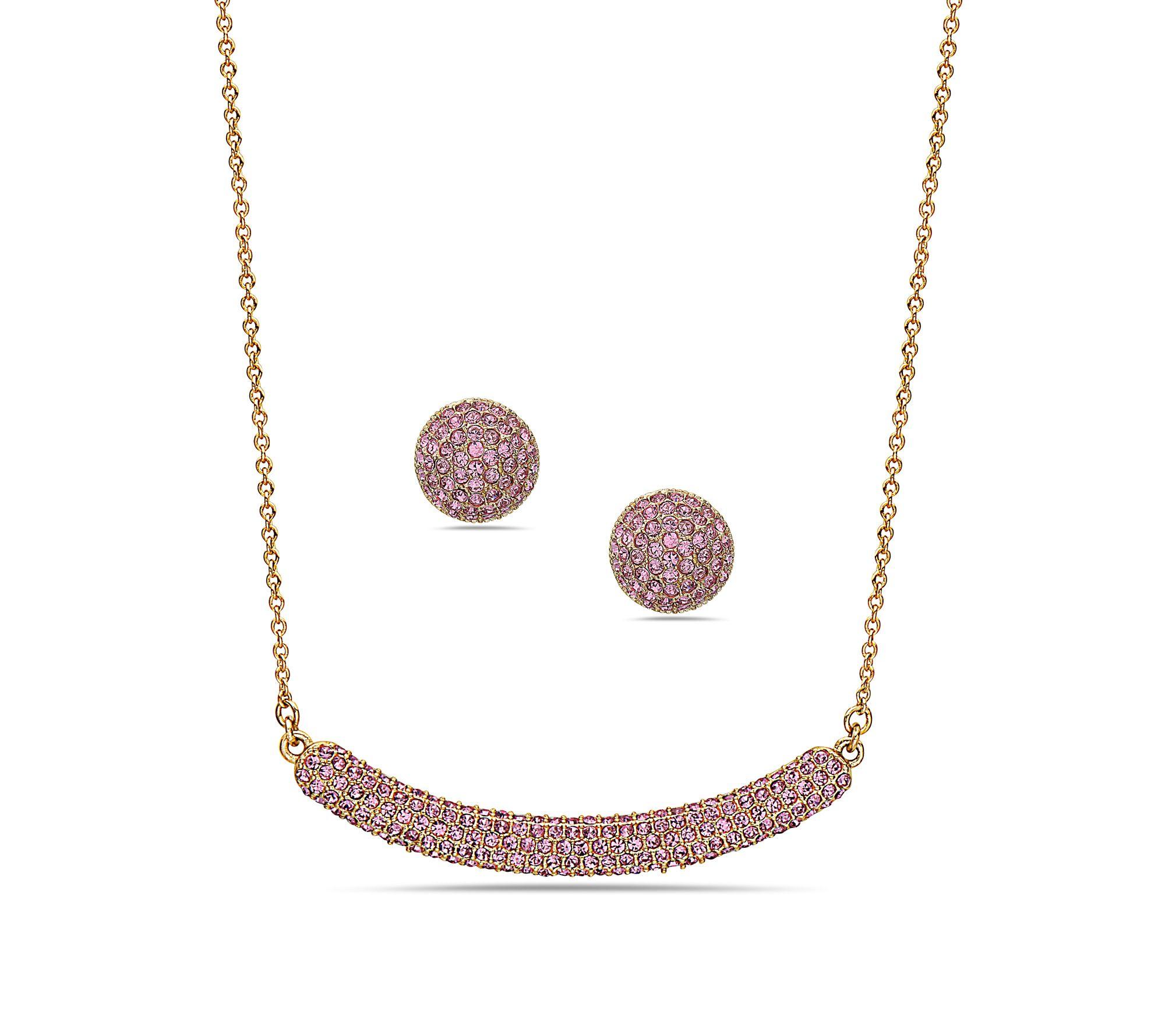 Nina Jewelry Swarovski Necklace Pave Stud Earring Set Qvc