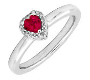 Simply Stacks Sterling Created Ruby & Diamond Heart Ring - J299269