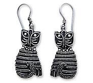 Novica Artisan-Crafted Sterling Indonesian Cat Earrings - J303869