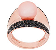 As Is Honora Cultured Pearl 10.0mm Black Spinel Concave Bronze Ring - J320969