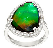 Ammolite Triplet and White Zircon Organic Design Sterling Ring - J330869
