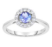 3/4 cttw Tanzanite & White Topaz Halo Ring, Sterling - J338669