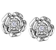 Diamond Flower Earrings, 1/10cttw, Sterling, by Affinity - J339469