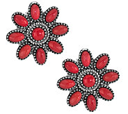 American West Sterling Red Coral Cluster ButtonEarrings - J341169
