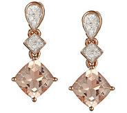 1.20 cttw Morganite & 1/10 cttw Diamond Earrings, Sterling - J343869